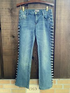 Platinum Plush Jeans Denim With Open Side Slit And Rhinestones Women's 9