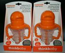 2 Thinkbaby Thinkster Straw Bottles No Spill 9oz Sippy Cup 2 Handle Baby Toddler