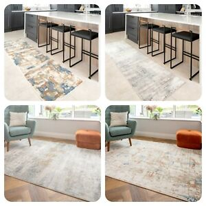 Multicoloured Abstract Rugs | Soft Distressed Area Rug | Dense Pile Long Runner