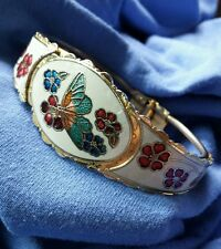 Butterfly Inlay Bangle Bracelet Jewelry RETRO Spring Hinged Inlaid Design