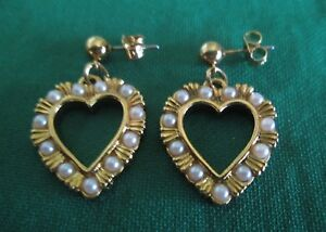 AVON VINTAGE*DROP DANGLE HEART WITH PEARLS PIERCED EARRINGS W/SURGICAL POSTS*NEW