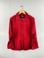 Stussy Men's Long Sleeve Military Casual Button Up Shirt Size M Red Check