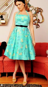 Pinup Couture Ginger Dress in Atomic print Turquoise with black cloth belt NEW