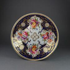Antique English Plate Cobalt Blue Flowers Regency Era Circa 1820