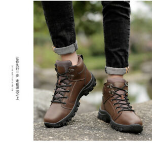 Men's Lace up Flats Breathable Non-slip Outdoor Sport High Top Pumps Work Shoes