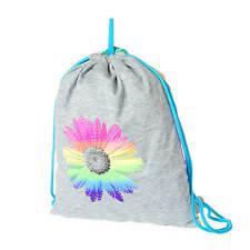 Rainbow Daisy Reversible Drawstring Bag Rhinestone Flowers Bling Rainbow NWT