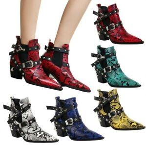 5  Colors Snakeskin Pattern Pointy Toe Western Women Chelsea Ankle Boots Pumps L