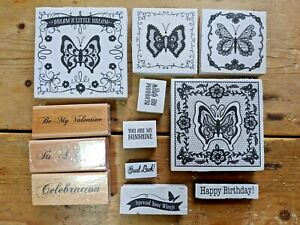 Ink Stamps Job Lot Butterfly Birthday Celebration x12 Stamps