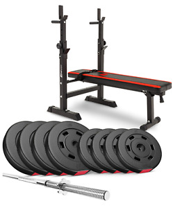 Pro Set 39 kg Weights and Bodybuilding Bars with a Folding Bench. Gym at Home!