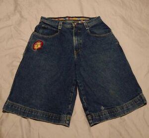 90s Vintage Retro Blue Denim JNCO JEANS J Jester Shorts 32W Rare HTF Baggy J202