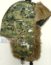 RIPSTOP CAMO TROOPER BOMBER TRAPPER AVIATOR ARCTIC WINTER WARM FAUX FUR CAP HAT