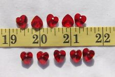 10x10mm Faceted Trans Dark Red  Glass Crystal Heart Pendant,Charm Beads 10pcs