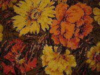 Barkcloth ?60s 70s RetroSplashy FloralFabricOrange/Tangerine/Yellow/Moss 1 y