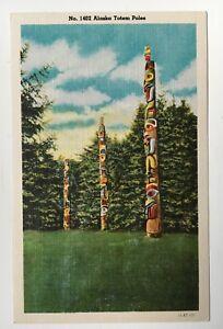 AK Vintage Postcard Alaska Totem Poles color linen scenic CP Johnston Co