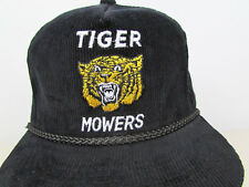 Vtg Tiger Mowers Black Embroidered Corduroy Adjustable Snapback Trucker Cap Hat