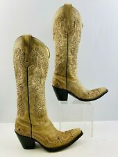 Ladies Corral Ivory Leather Snip Toe Buckaroo Western Cowgirl Boots Size: 7 M