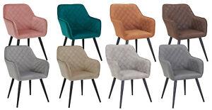 Esszimmerstuhl Armstuhl Stoff Samt oder Stoff mit Lederoptik Sessel Metallbeine