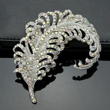 "BIG 3,15"" RUNWAY CLEAR FEATHER BROOCH MADE WITH SWAROVSKI CRYSTALS - NEW BRIDAL"