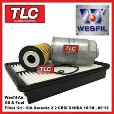 Wesfil Air Oil Fuel Filter Kit KIA Sorento XM 2.2 Diesel CRDi D4HBA 10/09-09/12
