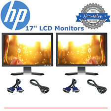 "DELL HP SAMSUNG MAJOR BRAND Dual 17"" Matching LCD Monitors w/ cables- DEAL!!!"