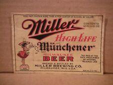 New listing Miller High Life Irtp Dncmt 4%12 Oz. Beer Label-Miller Brg.,Milwaukee,Wis 287-40