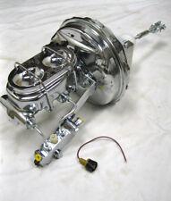 "Chevy Full Size Car 9"" Chrome Power Brake Booster Bail Top Master Disc Drum Kit"