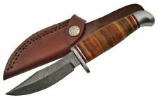 Hunting Knife | Damascus Steel Blade Skinner Military Stacked Leather + Sheath