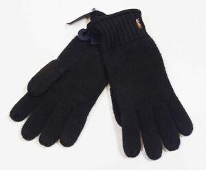 Polo Ralph Lauren Black Merino Wool / Suede Gloves Men's Size - ONE SIZE