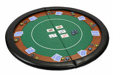 Riverboat Folding Poker Table Top in Green Speed Cloth and Leather Armrest 120cm