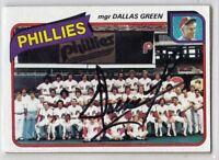 Philadelphia Phillies DALLAS GREEN signed autographed auto 1980 card WSC  (D)