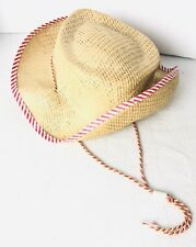 Vintage Toy Child's Straw Cowboy Hat Davey Crocket Roy Rodgers Draw String Red