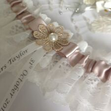 Personalised Wedding Garter, Plus Size/Large, Taupe & Ivory, Daisy Design