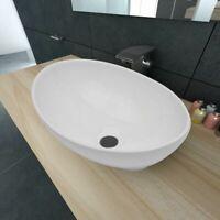 Lavello Bianco in Ceramica Lavandino Bagno Design Ovale Sanitari Bagno Lavabo