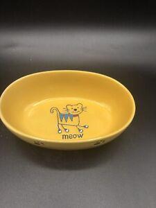 "MEOW Petrageous Cat Bowl Dish 6.5"" Oval Ceramic Yellow Paw Print Kitty"