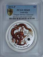 Australia 2012 P S$1 Silver Dragon Brown Colorized PCGS MS69 Bullion Australian