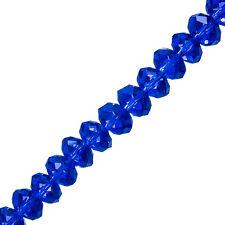 """10x8mm Cristallo Sfaccettato Stinco Perle Di Vetro Blu 8"""" Strand (P36)"""