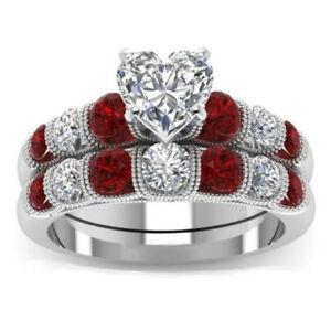 Women Elegant Rings Tungsten Steel Silver White Gold Filled Heart Zircon Garnet