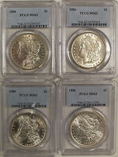 1886 Morgan Silver Dollar Coin,PCGS GRADED MS-62,RARE-BEAUTIFUL UNCIRCULATED#476