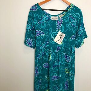 Vtg DVF Color Authority Teal Print 90's Midi Short Sleeve Dress Size S/M NWT