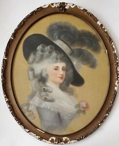 W.H. SNYDER 19th Century Victorian Portrait of Young Lady Pastels (Oil) Painting