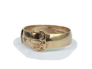 Excellent 9ct Gold and Diamond Buckle Ring, Size N - Hallmarked In 1994