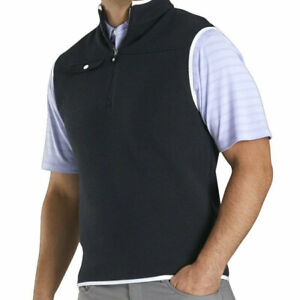 New Men's FootJoy Sweater Fleece 1/4 Zip Vest - Black - Small