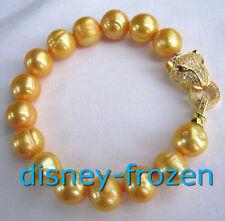 "7.5-8"" Baroque AAA 11-12MM natural leopard head SOUTH SEA golden PEARL bracelet"