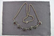 Trachtenkette Silber 925 mit Granat an Erbskette in neuwertigem Zustand L:43 cm
