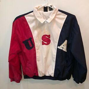 Vintage 90s USA Olympic Team Starter XL Full Zip Big Logo Windbreaker Jacket