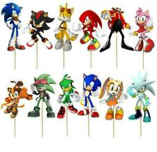SET OF 12 X SONIC THE HEDGEHOG Cupcake Pick Decoration Topper Birthday Party