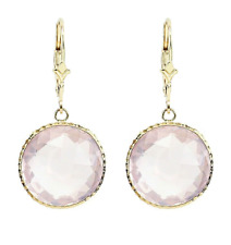 14K Yellow Gold Gemstone Earrings With Round Rose Quartz