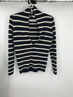J Crew Womens Full Sleeve V Neck Striped Sweater Off White Navy Blue Size XS