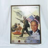 Rare War Poster Operation Desert Storm Liberation of Kuwait 1991 Vintage Framed