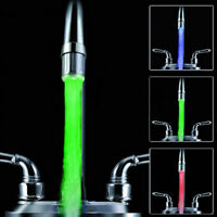 Glow LED Faucet Sensor Changing Light 3/7 Color Shower Kitchen Sink Water Tap